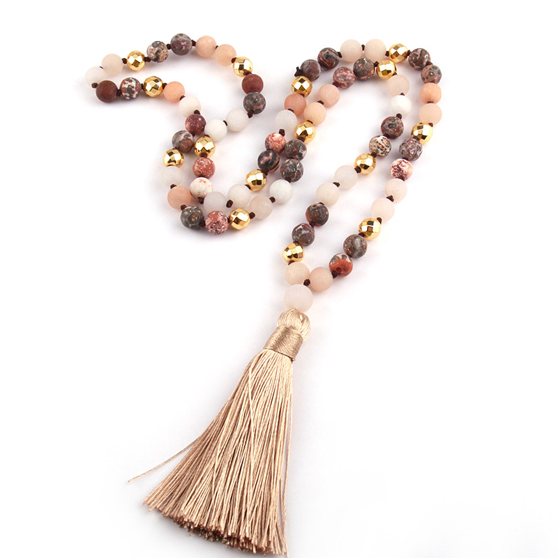 Fashion Natural Stone Leopard Strpe Beads Knotted Gold Magnetic Long Tassel Necklace Free Shipping