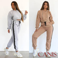 Tracksuit 2pcs Women Set Hoodies Crop Top Sweatshirt Side Stripe Pants Hooded Sets Women Clothing Suits Female(China)