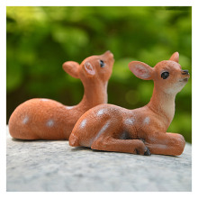 Mini Resin Cute Deer Bonsai Decoration Animal Statue Small Sika Deer Sculpture Home Office Desk Decorative Ornament Toy Gift