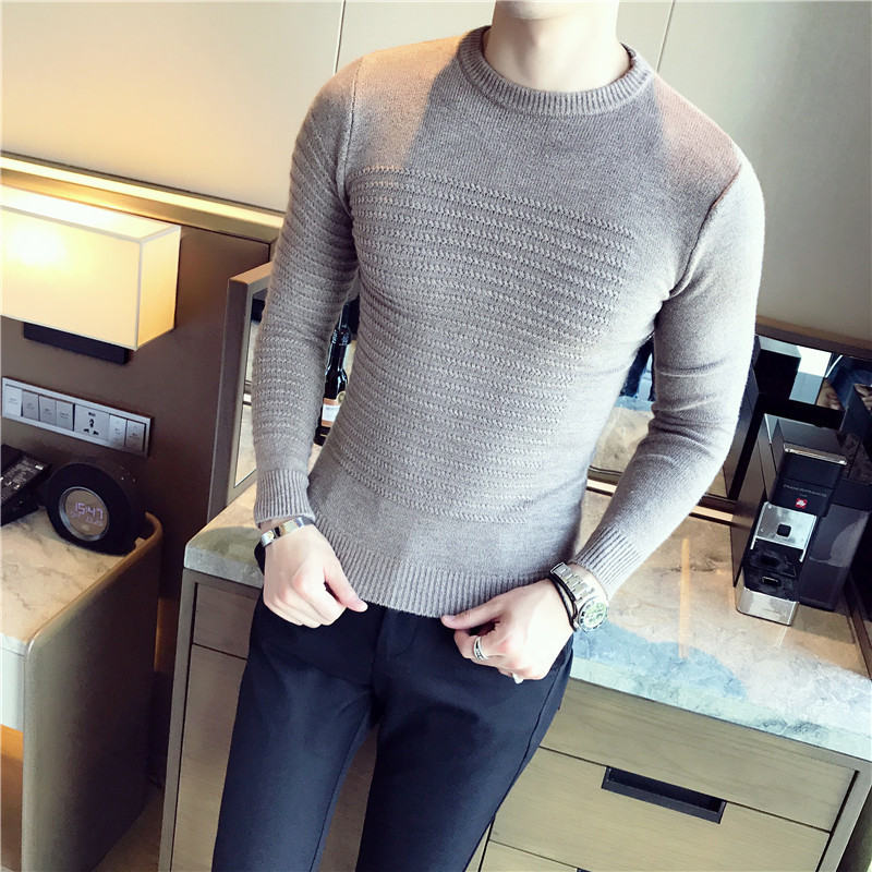 Slim Fit Pull En Tricot Solide Mens Pull Chandails Col Rond Slim Fit Pull Homme Jacquard Mâle Pull Hommes