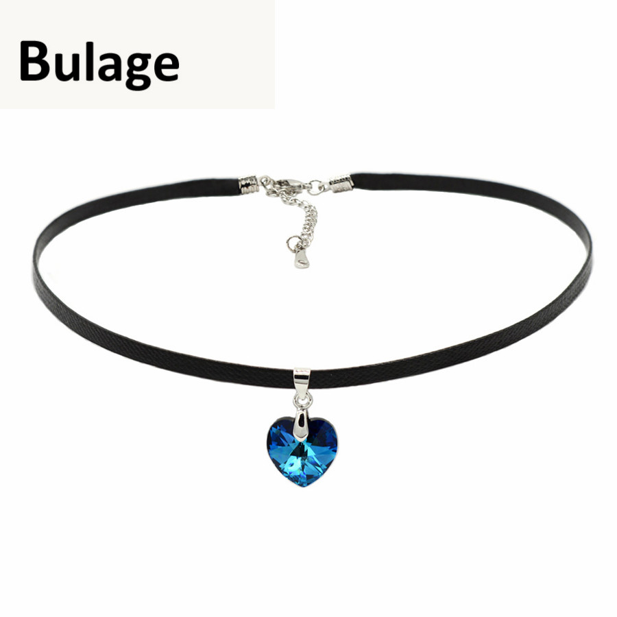 Bulage Heart Pendant Choker Necklace Crystals From Swarovski Rope Leather Chain Collar For Women Party Retro Vintage Jewelry in Choker Necklaces from Jewelry Accessories
