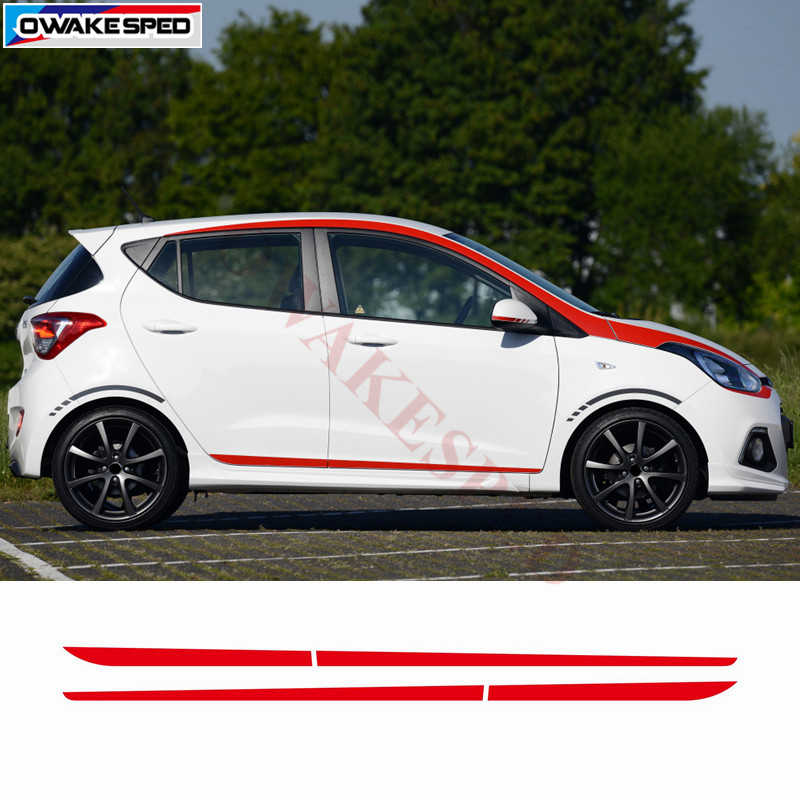 Autodeur Side Rok Stickers Voor Hyundai i10 2014-2017 Racing Sport Styling Strepen Auto Body Aangepaste Decals Stad auto Sticker