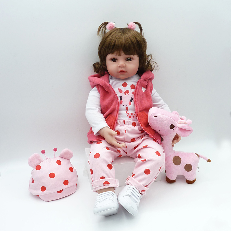 Nicery 18inch 48cm Bebe Doll Reborn Soft Silicone Boy Girl Toy Reborn Baby Doll Gift for Pink Coat nicery 18inch 45cm reborn baby doll magnetic mouth soft silicone lifelike girl toy gift for children christmas pink hat close