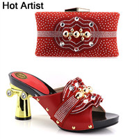 Hot Artist Latest Red Color Italian Shoes And Bags To Match Shoes With Bag Set Bag And Shoes Set Italy Nigerian Shoes YH 01
