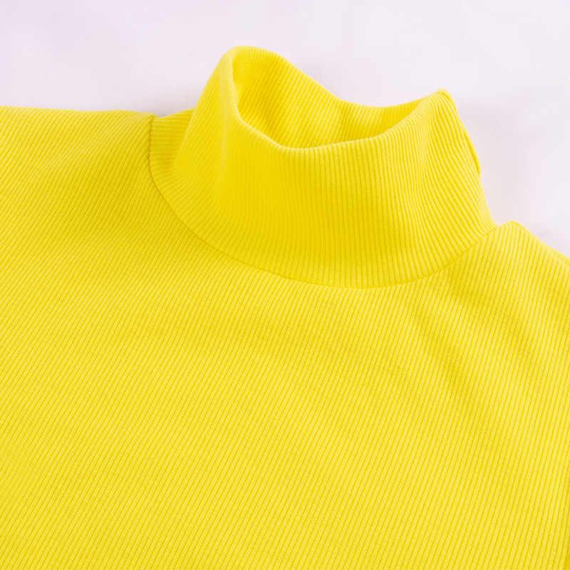 Облегающее трикотажное платье с высоким воротом, с длинными рукавами, неоновые, желтые, оранжевые, черные, тонкие сексуальные вечерние Клубные мини-платья, зима-осень 2019