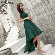 2019 New Green Chiffon High Low Beach Evening Dresses Sexy Halter Sleeveless Short Front Long Back Prom Dresses 2019 Plus Size