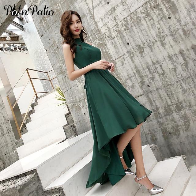 2019 New Green Chiffon High Low Beach Evening Dresses Sexy Halter Sleeveless Short Front Long Back Prom Dresses 2019 Plus Size