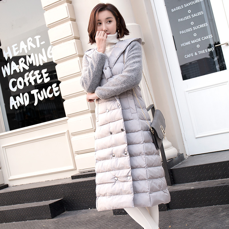 New Fashion Winter Parkas Slim Long Hooded Jacket Cotton Padded Loose Thin Thickened Coat Double Breasted Sashes Female Outwear