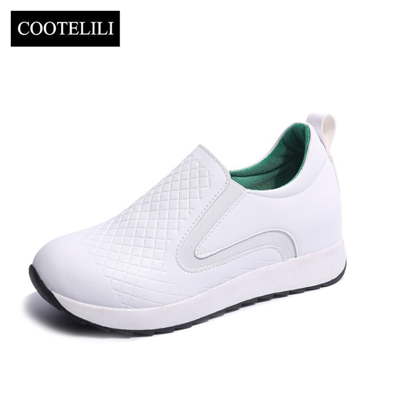 COOTELILI 35-39 Spring Casual Solid Flats Women Shoes Round Toe Slip-On Sweet Walking Loafers Flat Platfom Leisure Ladies Shoes xiaying smile woman flats women brogue shoes loafers spring summer casual slip on round toe rubber new black white women shoes