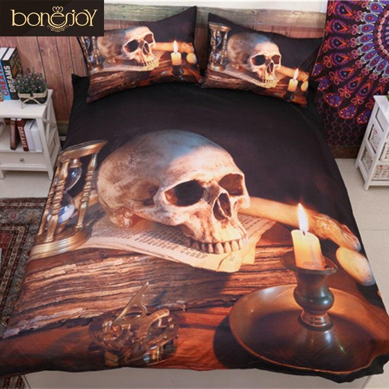 Bonenjoy 3D череп пододеяльник queen Размеры полиэстера, хлопка, простыня череп свеча пододеяльник постельное белье Комплект