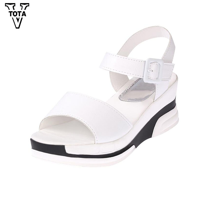 VTOTA Fashion Platform Sandals Women Summer Shoes Soft Leather Casual Shoes Open Toe Gladiator Wedges Trifle Mujer Women Shoes choudory bohemia women genuine leather summer sandals casual platform wedge shoes woman fringed gladiator sandal creepers wedges
