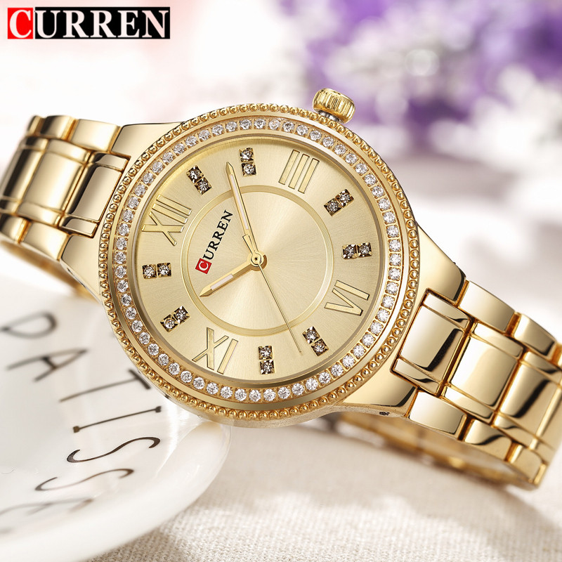 Women's Fashion Watches Curren Brand Luxury Gold Stainless Steel Quartz Watch Ladies Dress Jewelry For Women Gifts Wristwatches gold & silver women luxury watches stainless steel dress quartz elegant watch fashion wristwatches ladies relogios top quality