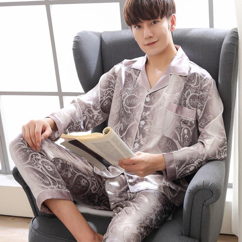 men silk pajamas pyjama men night suit for men satin pajamas men Sleepwear Leisure homewear suit plus size lounge pyjamas homme