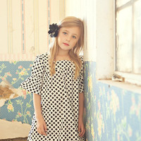 2015 Big Kids Girls Print Polka Dots Dresses Baby Girl Summer TuTu Flare Sleeve Dress Children