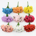 12pieces Artificial Plum Stamen Berry Flower, Fake Flowers For Wedding Decoration DIY Scrapbooking Wreath