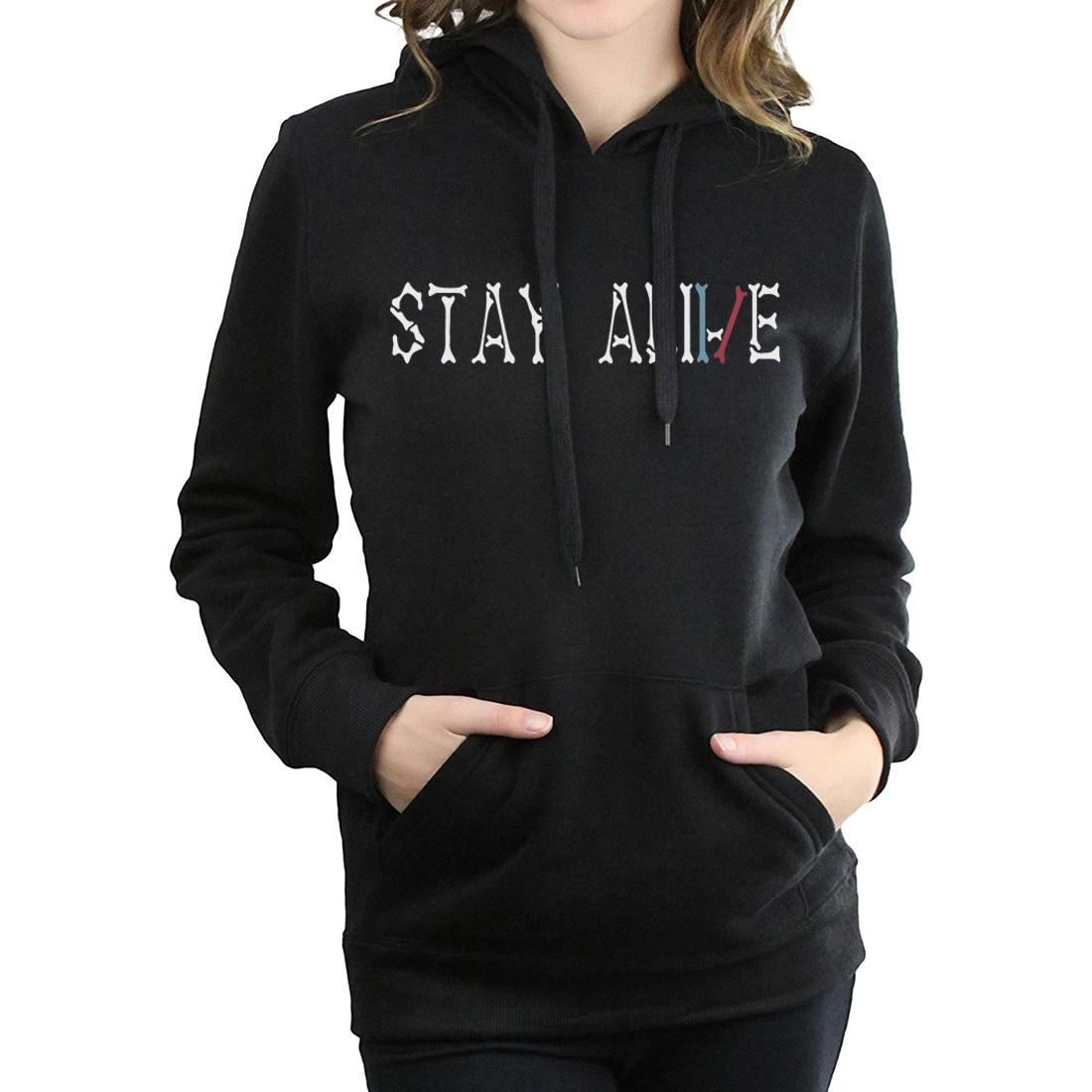 2019 women fleece hip-hop hoodies harajuku new top fashion sweatshirt stay alive letter print tracksuit femme fitness pullovers