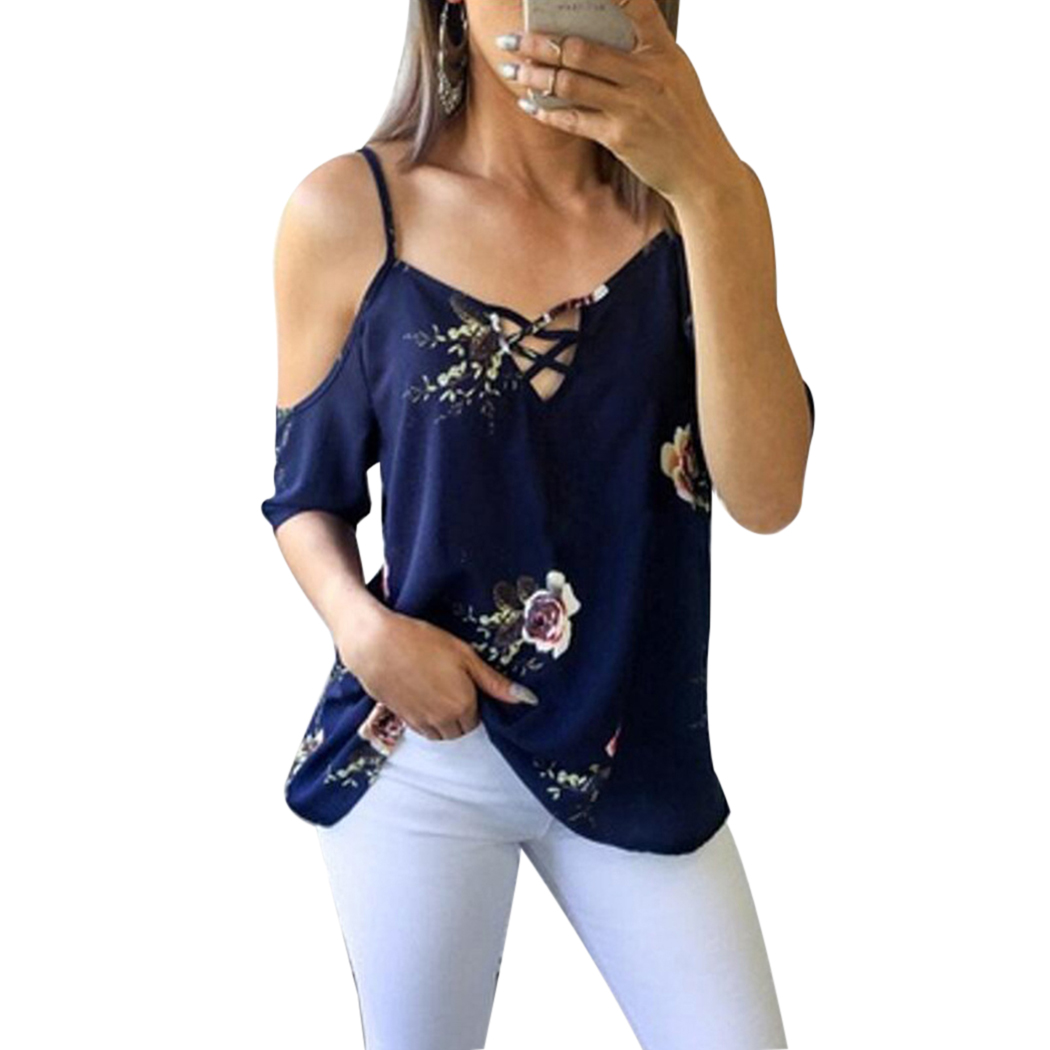 0fa637a1d2693 Sexy Off Shoulder Chiffon Blouses Women Floral Printed Loose Summer Tops  Fashion Spaghetti Strap Short Sleeve Ladies Shirt Blusa