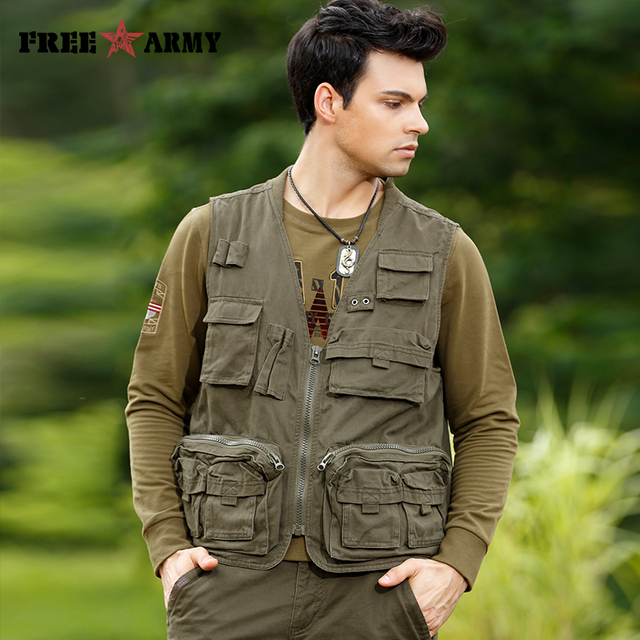 Casual Multi-pockets Mens Vest Brand Cotton Pockets Cargo Coats & Jackets Sleeveless Male Vests Military Men's Clothing Ms76706