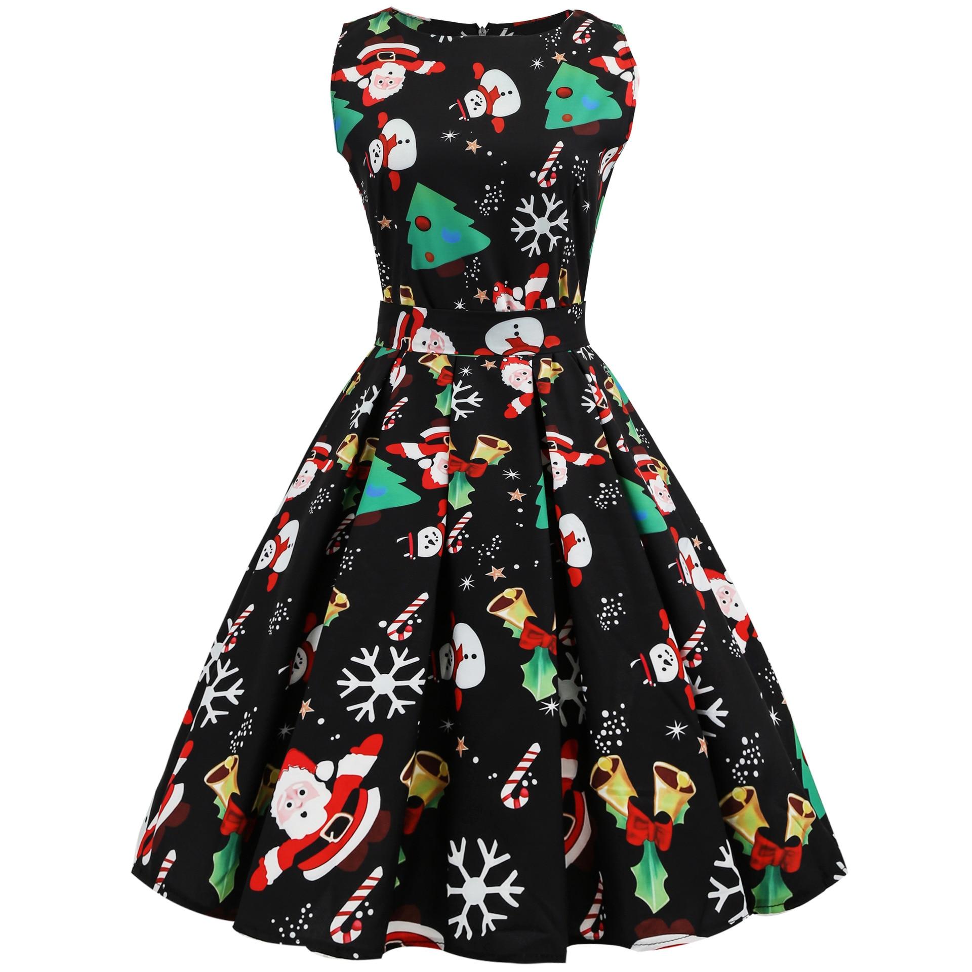 Plus Size Christmas Dress Women Floral Print Slim Vintage Dress Casual  Sleeveless Elegant Midi Party Dresses Vestidos Robe Femme