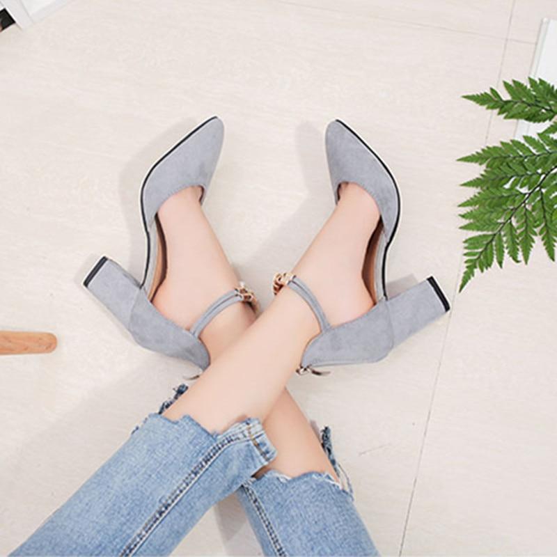 Zapatos gray Peu Femmes Femme Talons De Hauts Black 2018 34 40 Mode Cm ShuangxiJsd Haute Chaussures Profonde 5 Mujer 7 Taille D'été Bouche YI7gyb6vf