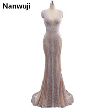 New arrival Real PhotoLuxury Grey Mermaid Evening Dresses Beading Crystal Sparkly Gown Robe De Soiree 2018 K061