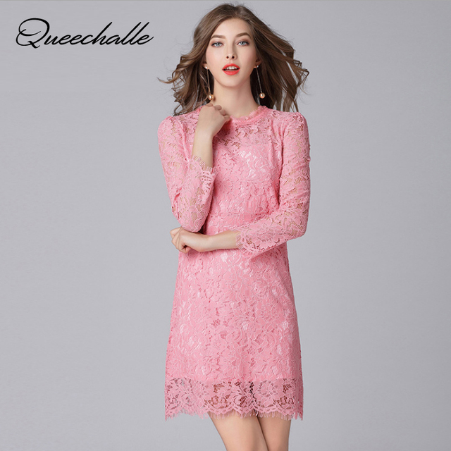4867b18d7b Queechalle Pink Color Fashion Lace Dress 2018 Spring Autumn Women Sexy  Hollow Out Long Sleeve Sheath Dress 5XL Plus Size Vestido