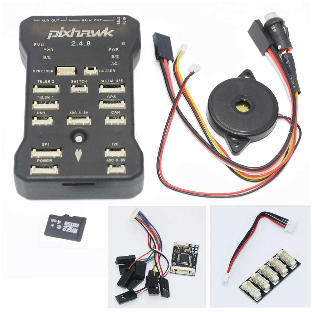 Pixhawk PX4 Autopilot PIX 2.4.8 32 Bit Flight Controller with Safety Switch and Buzzer 4G SD and I2C Splitter Expand Module gold plated socket pixhawk 2 4 7 flight controller