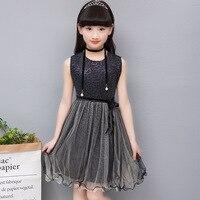 Большой Летнее платье для девочек модные Enfant платье принцессы без рукавов костюмы для детская одежда для девочек Джерси с Блестками одежда