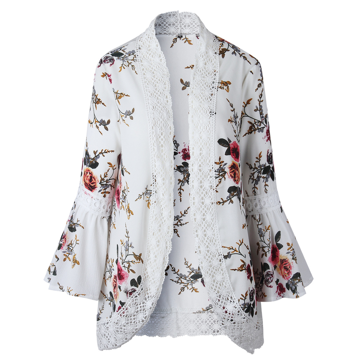 HTB1ANyPEf5TBuNjSspcq6znGFXaR Women Plus Size Loose Casual Basic Jackets Female 2018 Autumn Long Flare Sleeve Floral Print Outwear Coat Open Stitch Clothing
