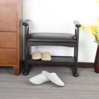 15%Solid wood shoes bench door shoes stool home Nordic modern minimalist stool bedroom makeup stool