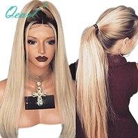 Qearl волос Синтетические волосы на кружеве парик 1B #/613 # Ombre Цвет блондинка пробор парики, кружева Реми парик прямо на белых Для женщин