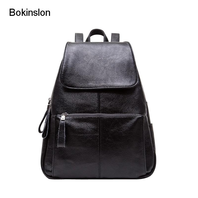 Bokinslon Backpacks Bags Women PU Leather Fashion Female Travel Bags Solid Color Practical Woman Backapcks