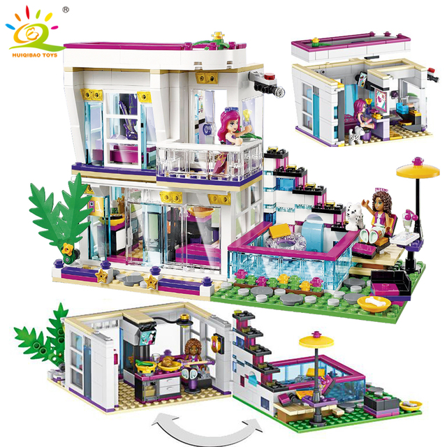 760PCS Pop Star Livi's House Building Block Compatible Legoing Friend For Girls DIY figures Bricks Educational Toys for children