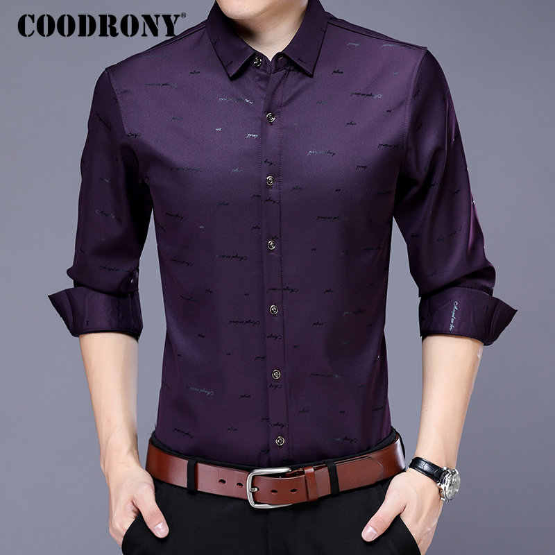 COODRONY/повседневные рубашки, большие размеры, рубашка с длинными рукавами, Мужская одежда, брендовая одежда 2019, Новое поступление, хлопок, Camisa Masculina 8743