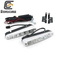 2Pcs Universal Super Bright Car Daytime Running Lights 5 LED DRL Daylight White 9 30V DC