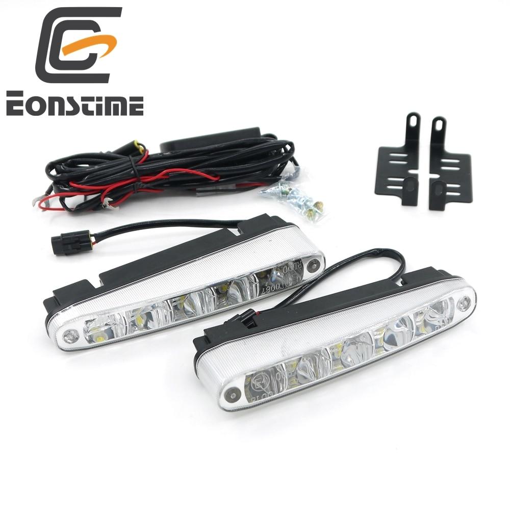 Eonstime 2pcs Universal Super Bright Car Daytime Running Lights 5LED DRL Daylight White 12V/24V DC Head Lamp 10W Off function E4