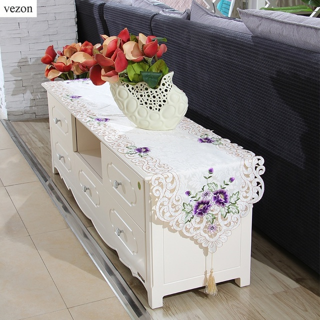 Elegant Vezon Hot Elegant Polyester Embroidery Table Runners Embroidered Floral  Cutwork Table Cloth Cover Home Decor Textile