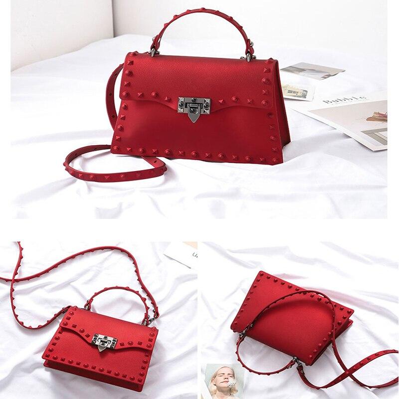 Image 2 - Rivet Women Messenger Bags Luxury Handbags Women Bags Designer PVC Jelly Bag Fashion Shoulder Bag Females PU Leather Handbags-in Top-Handle Bags from Luggage & Bags