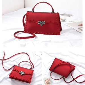 Image 2 - Rivet Women Messenger Bags Luxury Handbags Women Bags Designer PVC Jelly Bag Fashion Shoulder Bag Females PU Leather Handbags