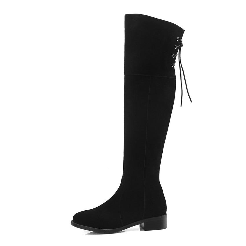 Match Femmes Bottes forme 2019 34 Tous Chaussures Haute Noir Grande Vache Genou En 40 Taille Carré Les Talon Plate Hiver Qutaa Daim qB0w5InI