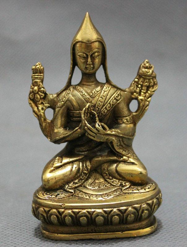 Tibet Pure Brass Buddhism Protect Lotus Tsongkhapa Buddha Joss Seat Statue