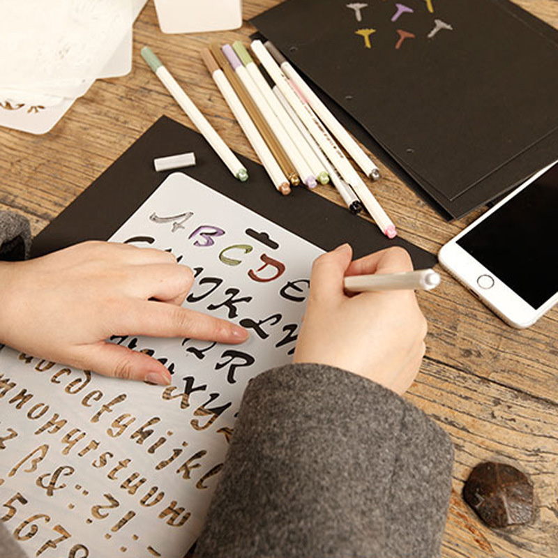 12PCS/1Set DIY Photo Album Scrapbook Stencil Patterns Hand Drawing Plastic Scrapbook Stencil Tools Self Adhesive Pattern Stencil