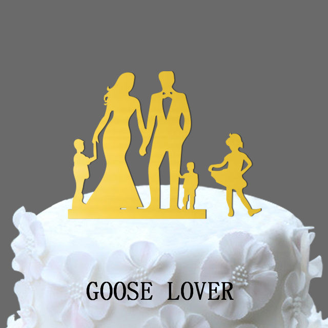 Online Shop Family Wedding Cake Topper With Two Boy And One Girl ...