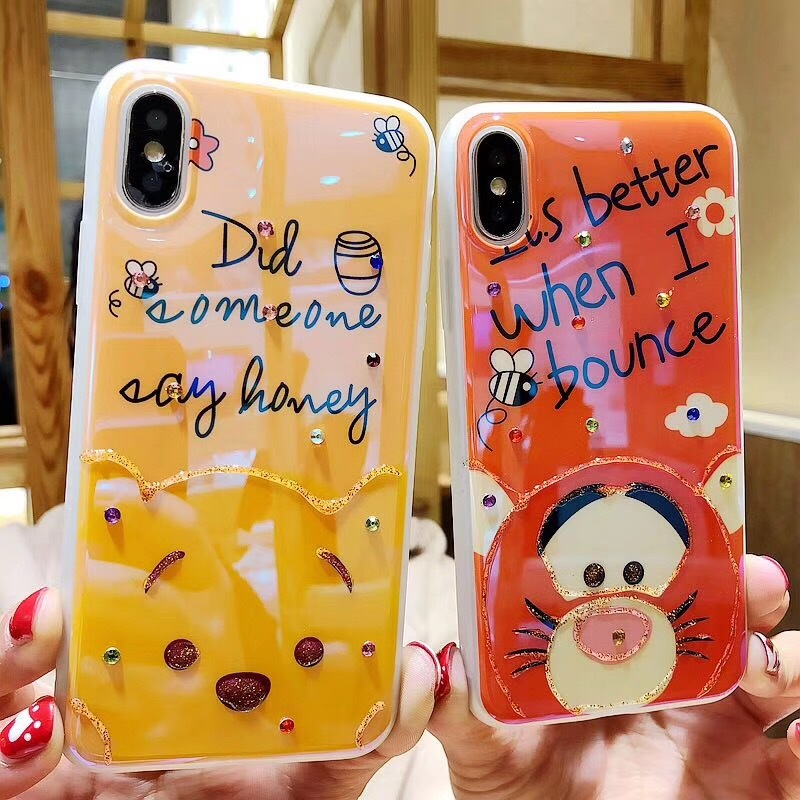 watch a7cf7 8eac1 US $2.89 42% OFF|Cartoon Lovely Winnie Pooh Bear Tigger Case For iPhone XR  XS Max X 7 6 6S 8 Plus Cute Blu ray Glitter Bling Diamond Cover Cases-in ...