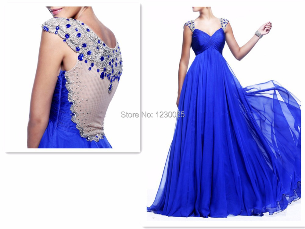 2016 hot sexy crystal Chiffon Fabric With Tulle Blue Color Sparkle Beading Handwork New Party   prom     Dresses   Celebrity Women
