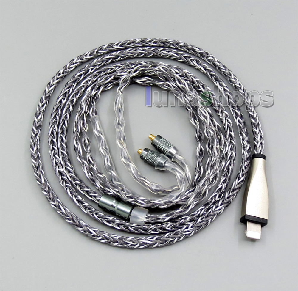 Grey Silver plated 8 core Port Balanced Cable For Shure SE215 SE315 SE425 SE535 SE846 Iphone 6 7 8 3 5mm 2 5mm 4 4mm dual 8 16 cores occ silver mixed headphone cable for shure se215 se315 se425 se535 se846