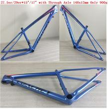 EPI STUM Full Carbon Fiber MTB Frame Size 27.5er 650b or 29er in 15/17 with through Axile 148x12mm with Post only 900g f cloud gepu gep vx5 through machine four axis carbon fiber through the rack x frame aluminum alloy keel structure