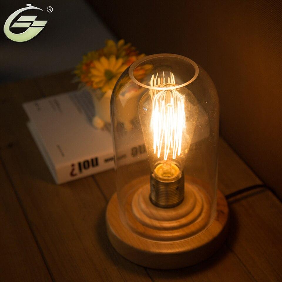 все цены на YUENSLIGHTING Loft Vintage Industrial Glass Wood Desk Lamp Retro Edison Bulb Wooden Base Led Table Lights онлайн