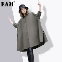 EAM 2018 New Spring Lapel Thre Quarter Sleve Black Fold Split Joint Loose Big Size