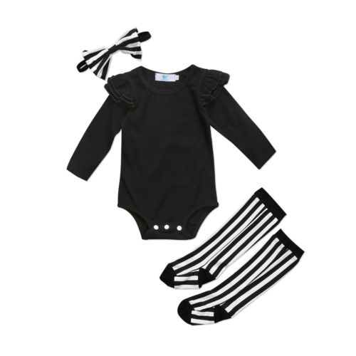 Newborn Infant Baby Girl Clothes Sets Cotton Bodysuit Tops Long Sleeve Socks Leg Warmer Clothes Striped Clothing Outfits 2017 new halloween baby clothing pumpkin print long sleeve bodysuit tops dots leg warmer sequins bow headband outfit kid clothes